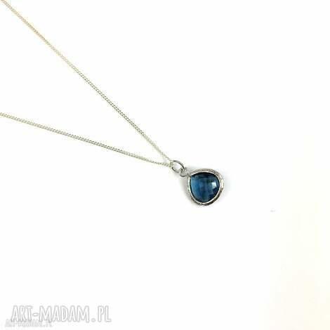 naszyjnik srebrny krysztaŁ blue sapphire - naszyjnik, srebro, kryształ