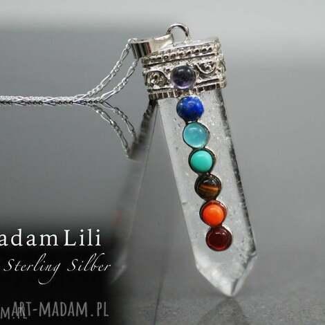 925 srebrny łańcuszek czakra ii - wisiore, zawieszka, kamienie, turkus, prezent
