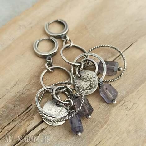 iolit i srebrne koła kolczyki wiszące, iolit, nowoczesna biżuteria, srebro