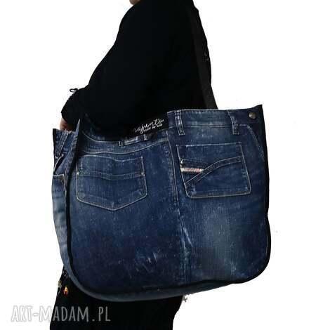 duża torba upcykling jeans diesel 75 od majunto, jeans, recykling