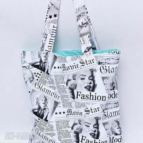 torba na zakupy shopperka marilyn monroe miętowa, torba, shopperka