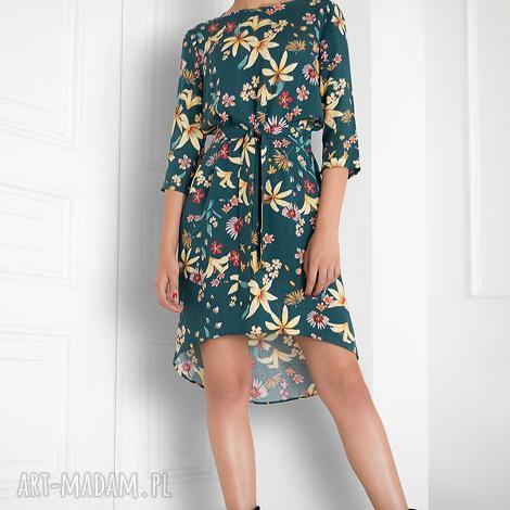 sukienki zielona sukienka w kwiaty, sukienka, folk, kolorowa, swobona, pasek