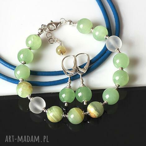 świąteczne prezenty, aragonit, kwarc, srebro, komplet, elegancki biżuteria