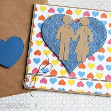 kartka ślubna ludziki multicolor, ślub
