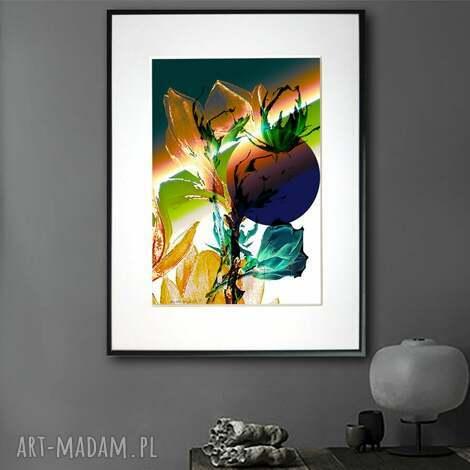 grafika w ramie tęczowe magnolie 30x40, nowoczesne, pionowe, z kwiatami