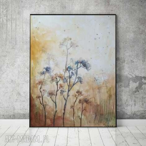 listopadowe trawy -akwarela formatu 18/24 cm, trawy, akwarela, papier