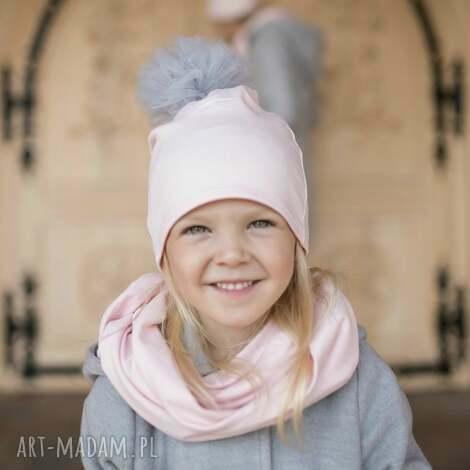 komplet rosa czapka komin - komin, czapka, tiulowypompon, rosa, dlamamyicórki, komplet