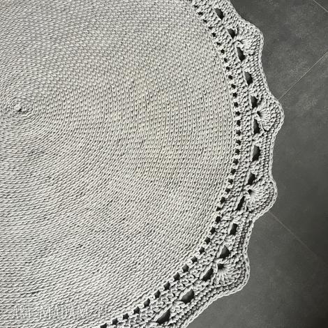 dywan ze sznurka baweŁnianego jasny szary145 cm - dywan, chodnik, szydełko