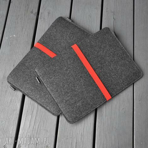 pokrowiec filcowy na laptop - grafitowy z czerwoną gumą, pokrowiec, etui