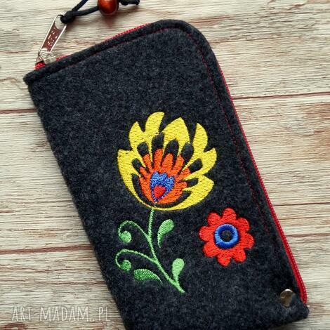 filcowe etui na telefon - wzór ludowy, pokrowiec, smartfon, haft, folk