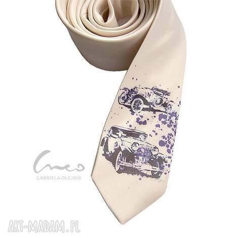 krawaty krawat z nadrukiem - retro ecru , krawat, nadruk, śledź, samochody