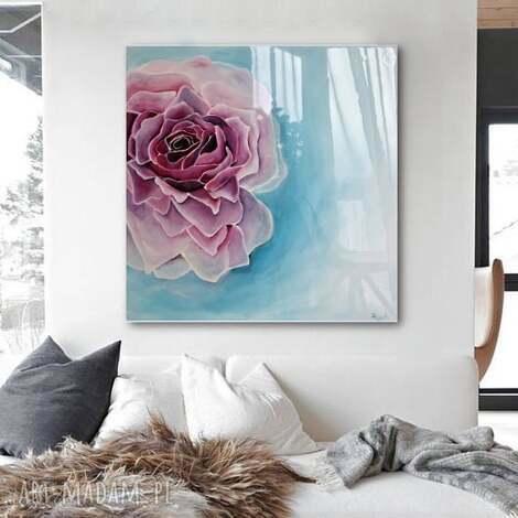 róża w błękitach - obraz do salonu canvas ręcznie malowany, nowoczesny