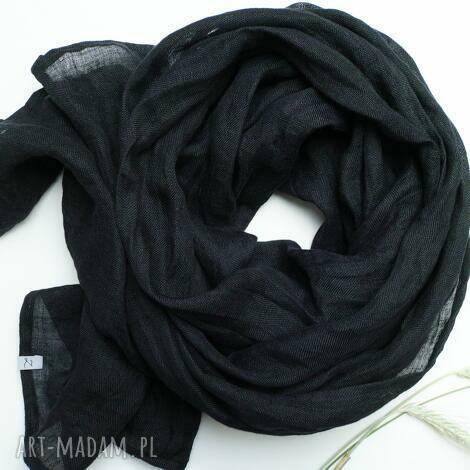 lniany szal chusta w kolorze czarnym, uniwersalny duży szal damski, lniany