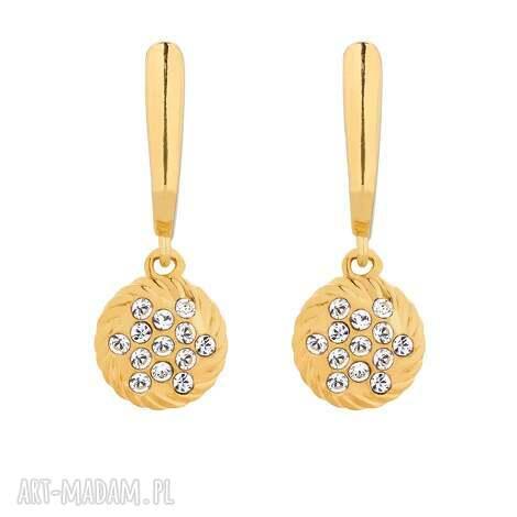 złote kolczyki z zawieszkami swarovski crystal, kolczyki, wiszące, orkągłe
