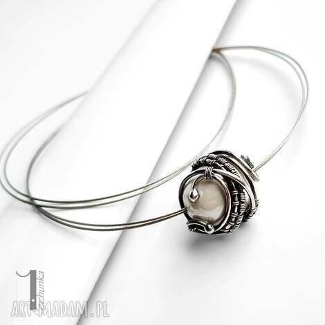 bianco ix naszyjnik srebrny z perłą majorka - naszyjnik, srebrny, perła