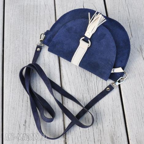 skórzana torebka dla dziewczynki - granatowa, welur, skóra, torebki