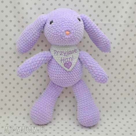 szydełkowy króliczek lawenda, królik, króliczek, maskotka, fiolet, lawendowy
