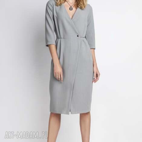 sukienka, suk131 szary, minimalizm, casual, seksowna, kobieca, dekoltv