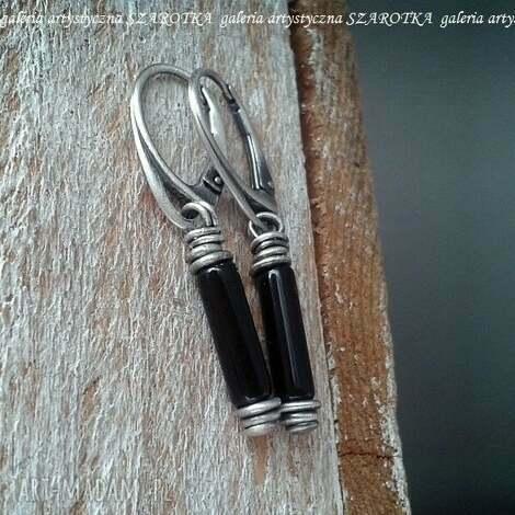szarotka subtelna elegancja kolczyki z onyksu i srebra, onyks, srebro oksydowane