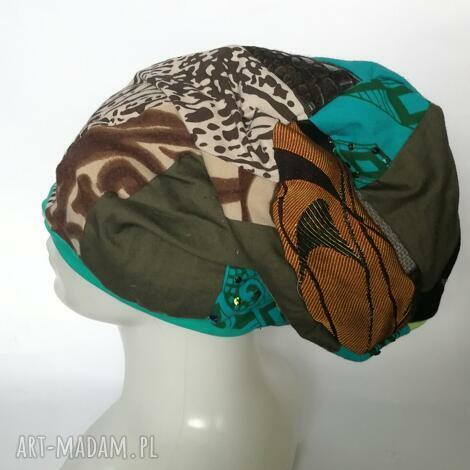 Ruda Klara, czapka damska smerfetka szyta patchworkowy (etno boho, folk wiosna, kolorowa)