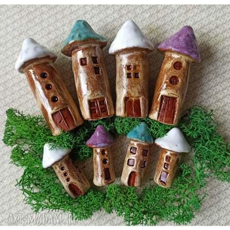 domki grzyby 8 szt, ceramika, grzyby, domki, las, doniczka, pod choinkę prezent