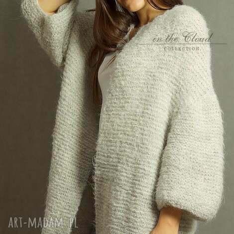 swetry szary kardigan z lekkim włoskiem, kardigan, alpaka, dziergany, druty, sweter