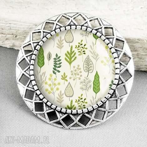 broszka z grafikĄ w szkle plant - pin, przypinka, zieleń, zielenie, pastel