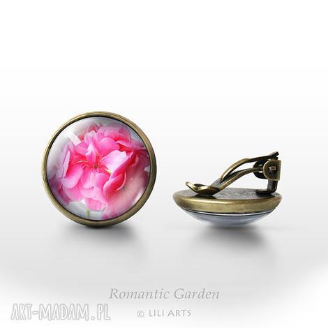 klipsy - różowe geranium antyczny brąz, klipsy, kwiaty, romantyczne