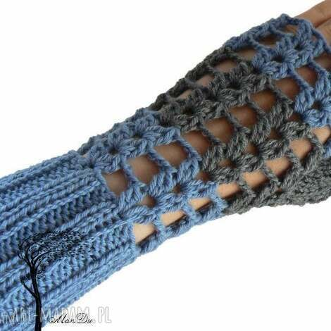 bezpalczatki 11 - mitenki, jeansowe ażurowe, szydełkowe