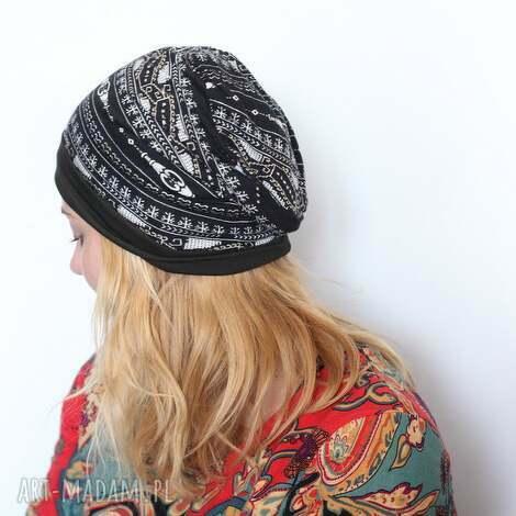 czapka wiosenna orientalna - czapka, orient, bawełna, sport, dzianina, mama