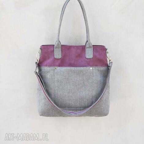 fiella - duża torba fiolet i szary, klasyczna, uniwersalna, lato, prezent