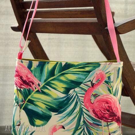 mała torebka listonoszka, torebka, wakacyjna, flamingi, motyw botaniczny