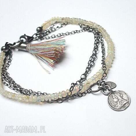 opale - bransoletka, srebro, opale, chwost, moneta, boho bransoletki biżuteria