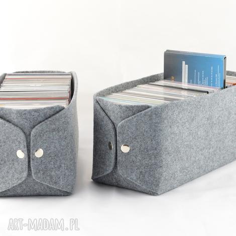 pudełka pudełko do przechowywania płyt cd - minimalistyczne z szarego filcu, płyty