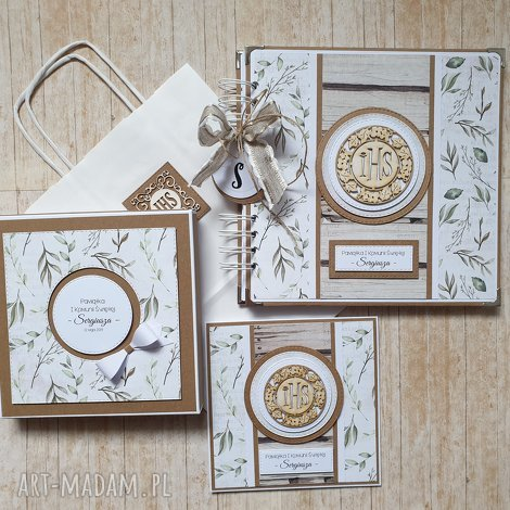 zestaw album i kartka w pudełku - wyjątkowy prezent liściach, album, chrzest