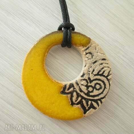 żółciutki we wzorki, ceramiczny, żółty, ceramika, etniczny biżuteria