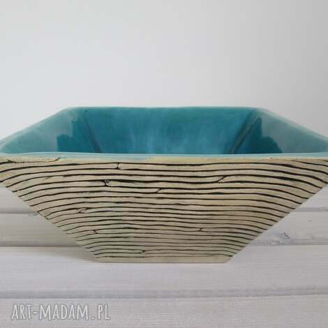 turkusowa głębia, miska, ceramiczna, turkusowa, misa, prezent, duża
