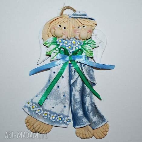 piękny bukiet - anioły ślubne, anioły, masa solna, prezent, na ścianę, ślub