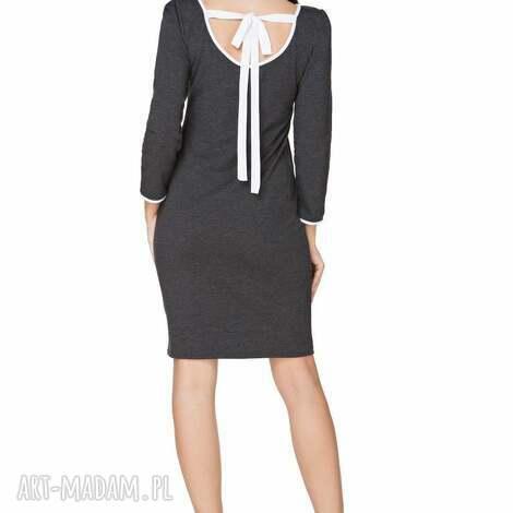 sukienka z dekoltem na plecach t224, ciemnoszary biały - sukienka, elegancka, dekolt