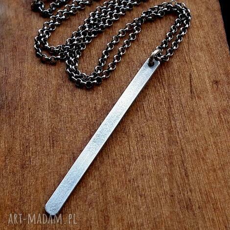 srebrny naszyjnik z soplekiem- srebro pr 925 - delikatny, geometryczny, patyczek, komplet