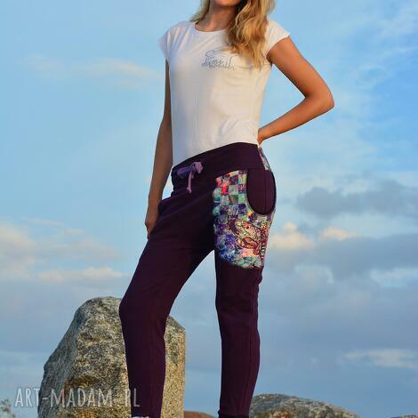 s / m spodnie nocny motyl damskie - baggy pants, dres, yoga, ciążowe, ćma, wygodne