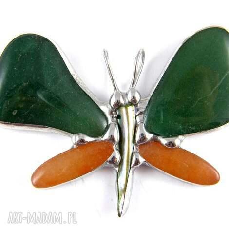 wisior motyl z żółtym awenturynem, motyl, secesyjny, awenturyn, kamienie, zawieszka