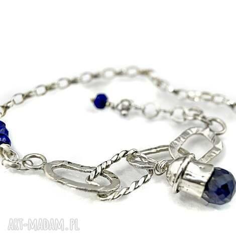 bransoletki bransoletka z szafirem, bransoletka, srebrna, 925, szafir, stylowa