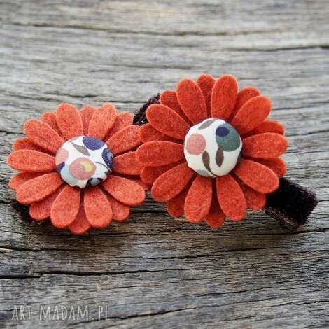 ozdoby do włosów spinki kwiatki jesień, kwiatki, filc, spinki