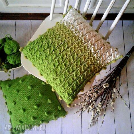 dziergana poszewka, poduszka, dom, dekoracje, wełna, prezent