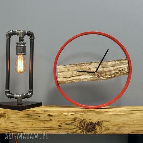 zegar wood red, drewiany, loft, okrągły, duży, kolorowy, prosty dom