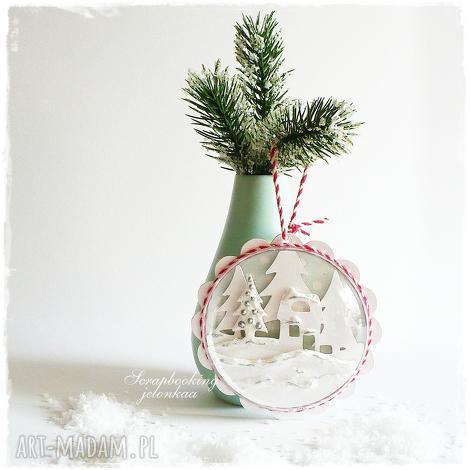 śnieżna zawieszka - bombka magnes, zawieszka, święta, śnieg, sznurek