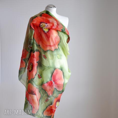 jedwabne malowane pareo- maki na zielonym tle, jedwabne pareo, makowe, kwiatowy szal