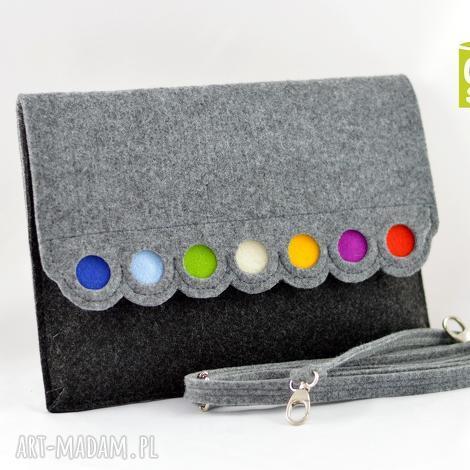 kopertówka z filcu kolorowymi kropkami - mniejsza, filc, filcowa, kropki