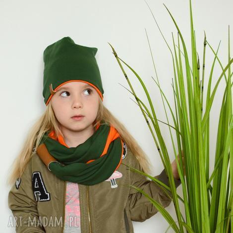 komplet komin czapka zielono-pomarańczowy - komplet, wiosna, bawełna, czapka